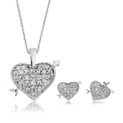 Tekbir Silver - Gümüş Kalpli Bayan Set