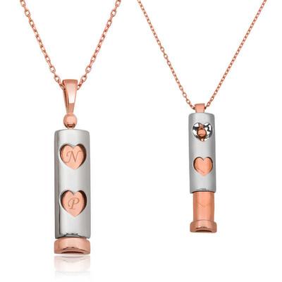 Tekbir Silver - Gümüş Kalpli Çubuk Kolye