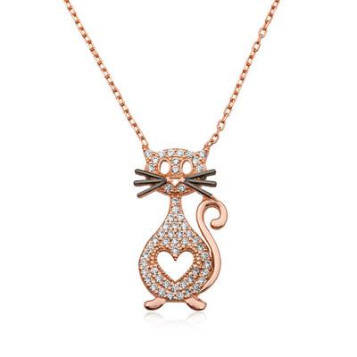 Tekbir Silver - Gümüş Kalpli Kedi Kolye