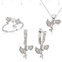 Tekbir Silver - Gümüş Kalpli Melek Bayan Set