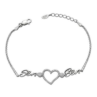 Tekbir Silver - Gümüş Kalpli Sen Ben Bayan Bileklik