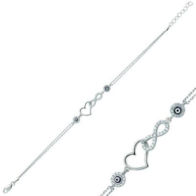 Tekbir Silver - Gümüş Kalpli Sonsuzluk Bayan Bileklik