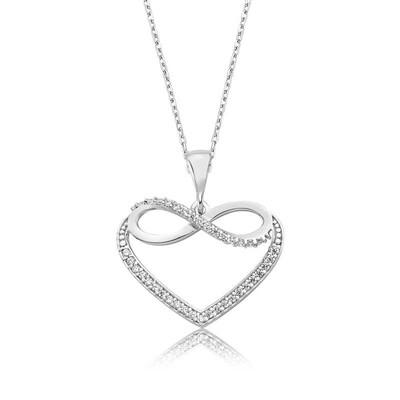 Tekbir Silver - Gümüş Kalpli Sonsuzluk Bayan Kolye