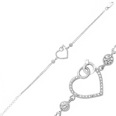 Tekbir Silver - Gümüş Kalpli Tek Taş Bayan Bileklik