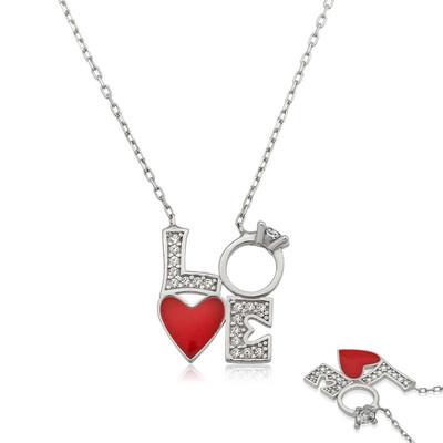 Tekbir Silver - Gümüş Kalpli Tek Taş Love Kolye