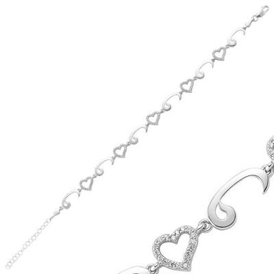 Tekbir Silver - Gümüş Kalpli Vav Bayan Bileklik