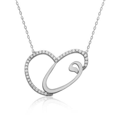 Tekbir Silver - Gümüş Kalpli Vav Bayan Kolye