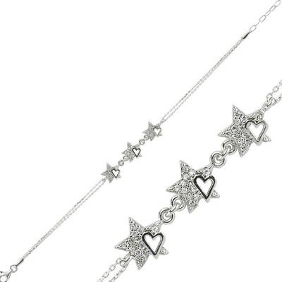 Tekbir Silver - Gümüş Kalpli Yıldız Bayan Bileklik