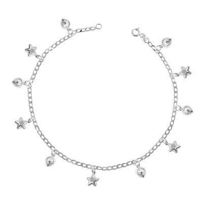 Tekbir Silver - Gümüş Kalpli Yıldız Halhal