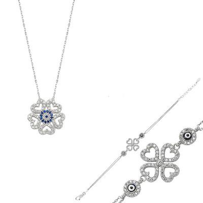 Tekbir Silver - Gümüş Kalpli Yonca Bayan Set
