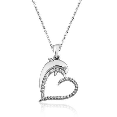 Tekbir Silver - Gümüş Kalpli Yunus Balığı Bayan Kolye