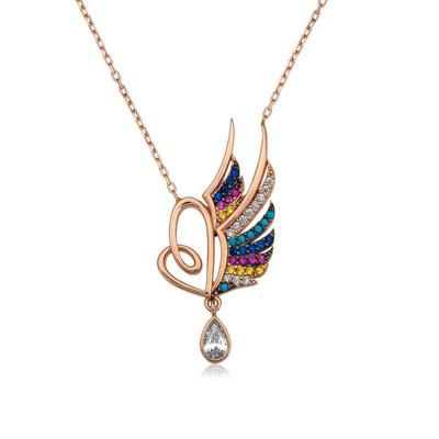 Tekbir Silver - Gümüş Kanatlı Kalp Bayan Kolye
