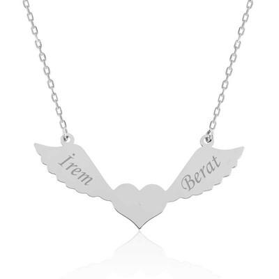 Tekbir Silver - Gümüş Kanatlı Kalp İsimli Bayan Kolye