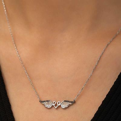 Tekbir Silver - Gümüş Kanatlı Kalp Kolye (1)