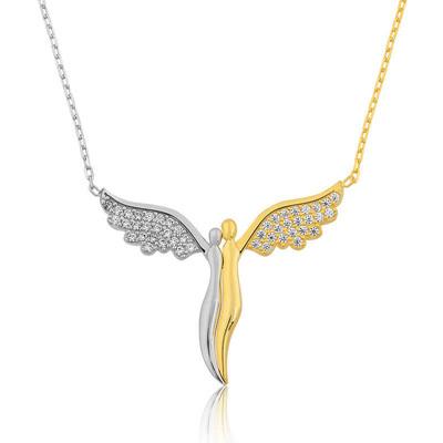 Tekbir Silver - Gümüş Kanatlı Melekler Bayan Kolye