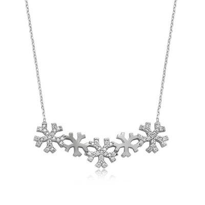 Tekbir Silver - Gümüş Kar Taneleri Bayan Kolye