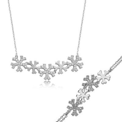Tekbir Silver - Gümüş Kar Taneleri Bayan Set