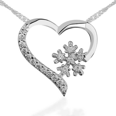 Tekbir Silver - Gümüş Kar Tanesi Kalp Bayan Kolye