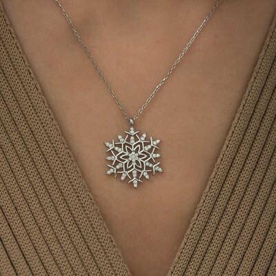 Gumush - Gümüş Kar Tanesi Kolye (1)