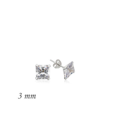 Tekbir Silver - Gümüş Kare Tek Taş Zirkon Küpe - 3 mm