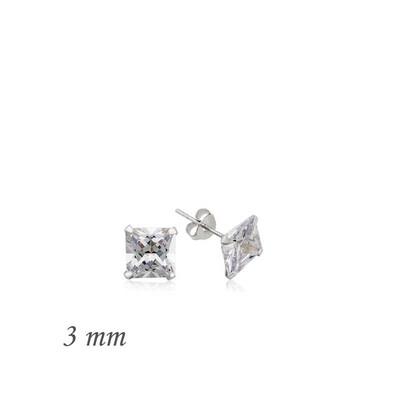 Tekbir Silver - Gümüş Kare Tek Taş Zirkon Küpe - 3 mm (1)