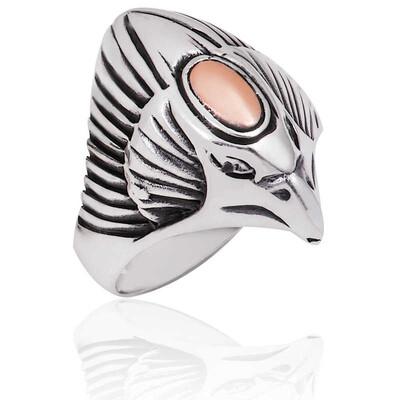 Tekbir Silver - Gümüş Kartal Kafası Erkek Yüzük