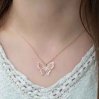 Gumush - Gümüş Kelebek Bayan Kolye (1)