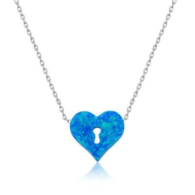 Tekbir Silver - Gümüş Kilitli Kalp Bayan Kolye