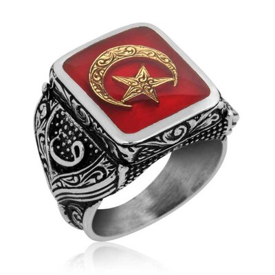Tekbir Silver - Gümüş Kırmızı Ay Yıldız Erkek Yüzük