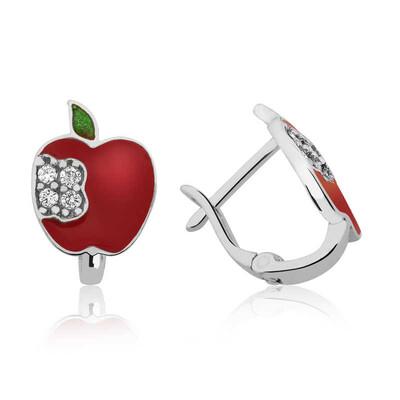Tekbir Silver - Gümüş Kırmızı Elma Çoçuk Küpesi