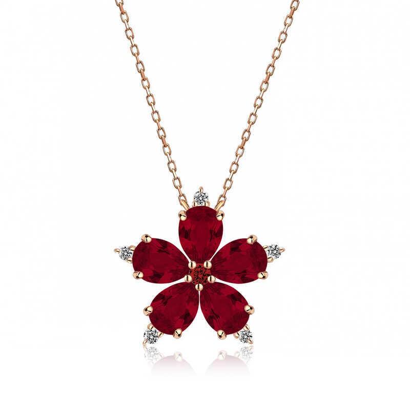Gümüş Kırmızı Kamelya Çiçeği Kolye