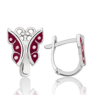 Tekbir Silver - Gümüş Kırmızı Kelebek Çocuk Küpesi
