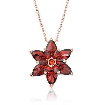 Gumush - Gümüş Kırmızı Lotus Çiçeği Kolye