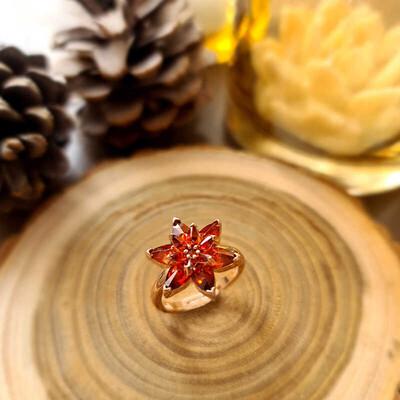 Gumush - Gümüş Kırmızı Lotus Çiçeği Yüzük