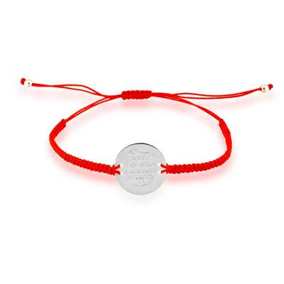 Tekbir Silver - Gümüş Kırmızı Makrame Ayetel Kürsi Bileklik