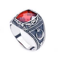 Tekbir Silver - Gümüş Kırmızı Taşlı Ay Yıldız Erkek Yüzük
