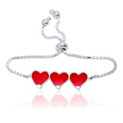 Tekbir Silver - Gümüş Kırmızı Üç Kalp Çocuk Bileklik