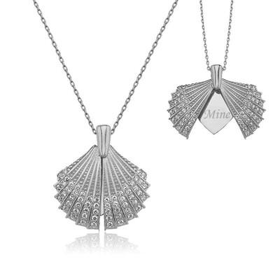 Tekbir Silver - Gümüş Kişiye Özel İstiridye Bayan Kolye
