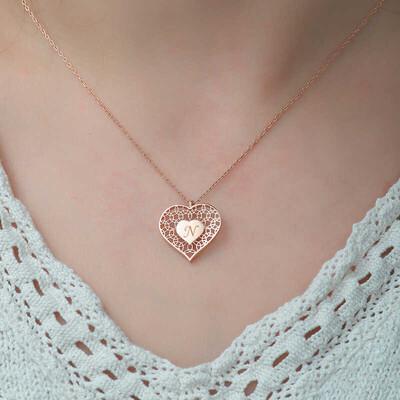 Gumush - Gümüş Kişiye Özel Kalbin İçinde Kalp Bayan Kolye (1)