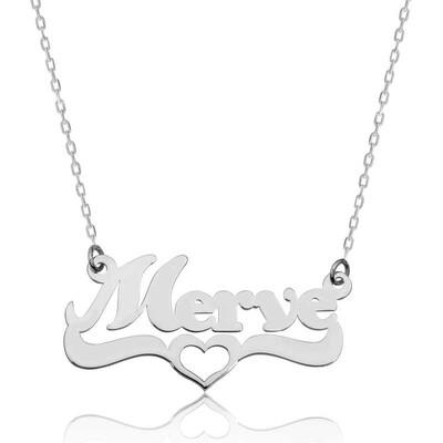 Tekbir Silver - Gümüş Kişiye Özel Kalpli İsim Kolye