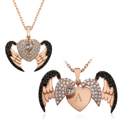 Tekbir Silver - Gümüş Kişiye Özel Kanatlı Kalp Bayan Kolye