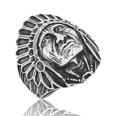 Tekbir Silver - Gümüş Kızılderili Erkek Yüzük
