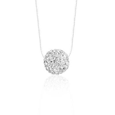 Tekbir Silver - Gümüş Kristal Taşlı Top Bayan Kolye