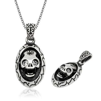 Tekbir Silver - Gümüş Kuru Kafa Erkek Kolye