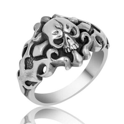 Tekbir Silver - Gümüş Kuru Kafa Erkek Yüzük