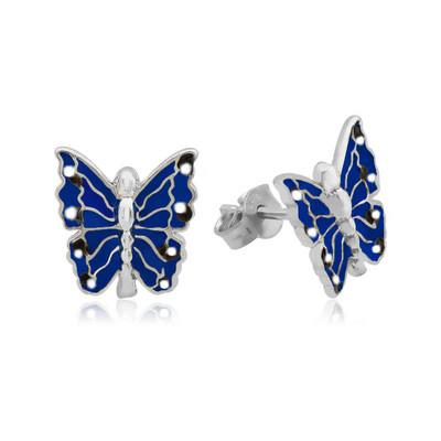 Tekbir Silver - Gümüş Lacivert Kelebek Çocuk Küpesi