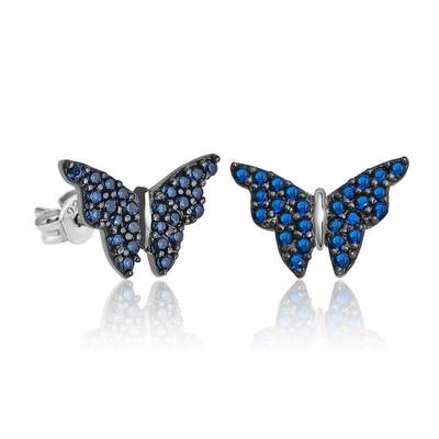 Gumush - Gümüş Lacivert Kelebek Küpe