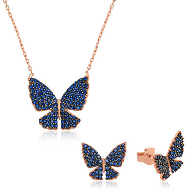 Tekbir Silver - Gümüş Lacivert Kelebek Set