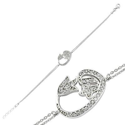 Tekbir Silver - Gümüş Lale Vav Bayan Bileklik