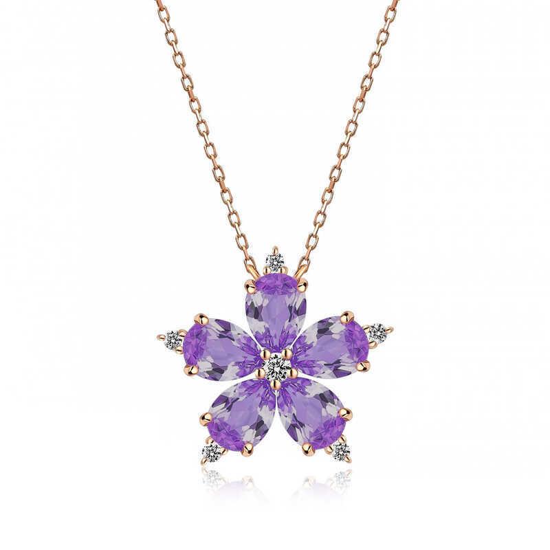 Gümüş Lila Kamelya Çiçeği Kolye